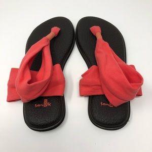Sanuk Yoga Mat Sling Flip Flops Pink Size 7